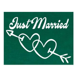 Postal Corazones casados del verde apenas que casan la