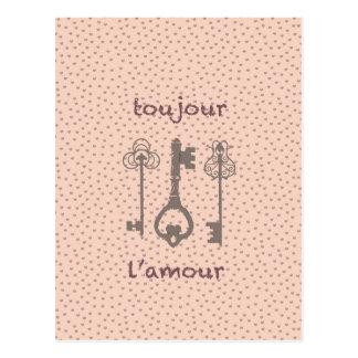 Postal Corazones del amor del vintage y llaves francesas