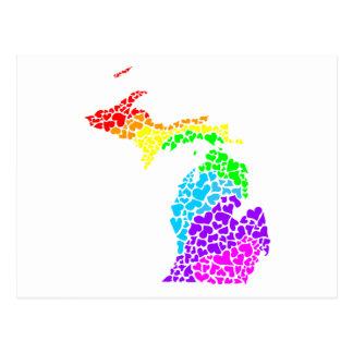 Postal corazones del arco iris del orgullo de Michigan