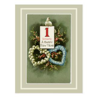 Postal Corazones florales del vintage y Feliz Año Nuevo