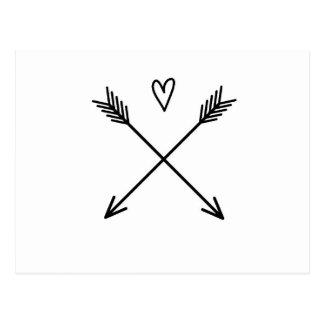 Postal Corazones y flechas