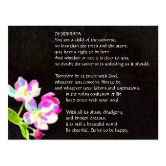 Postal cósmica de los flores de los DESIDERÁTUMS
