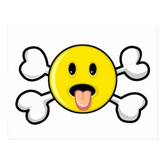 Postal cráneo sonriente y bandera pirata de la lengua