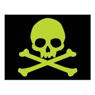 Postal Cráneo verde simple y bandera pirata