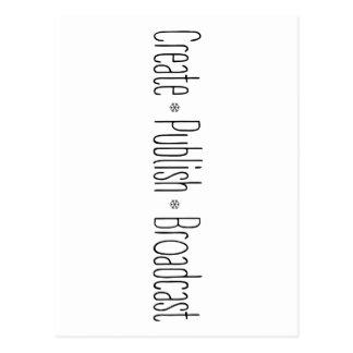 """Postal """"CREE  •  PUBLIQUE  •  La DIFUSIÓN"""", texto, CREA,"""
