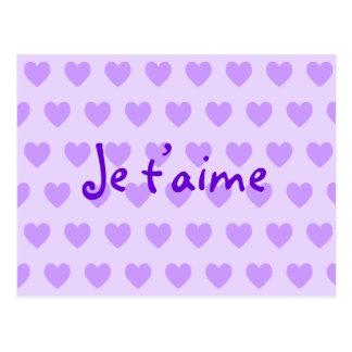 Postal Cree sus propios corazones púrpuras de Je T'aime