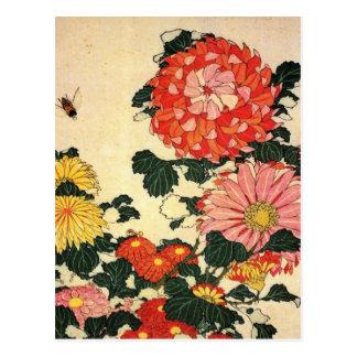 Postal Crisantemo y la abeja de Hokusai el '