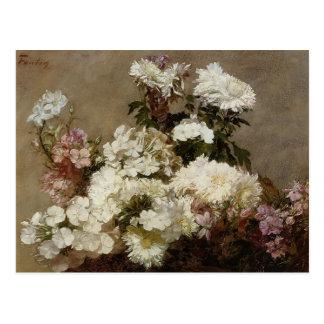 Postal Crisantemo y Larkspur del verano de Enrique Latour