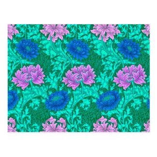 Postal Crisantemos, aguamarina y violeta de William