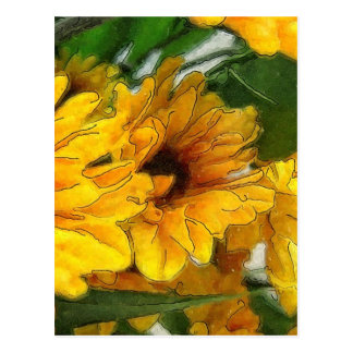Postal Crisantemos amarillos 1