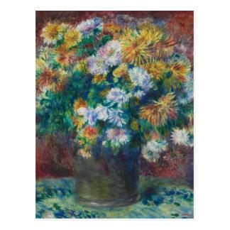 Postal Crisantemos de Pierre-Auguste Renoir del vintage