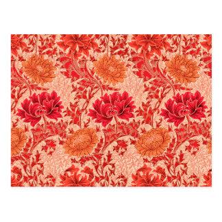 Postal Crisantemos de William Morris, naranja coralino