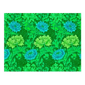 Postal Crisantemos, verde lima y aguamarina de William