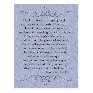 Postal cristiana azul del verso de la biblia