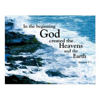 Postal cristiana, dios creado, océano, religioso