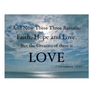Postal cristiana, fe, esperanza, amor - religioso