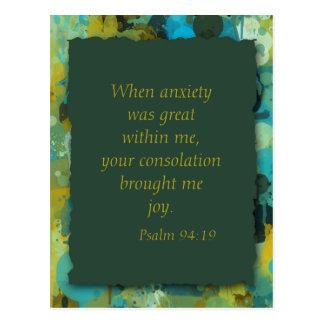 Postal cristiana inspirada de la ansiedad de la bi