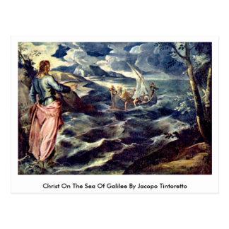Postal Cristo en el mar de Galilea de Jacopo Tintoretto