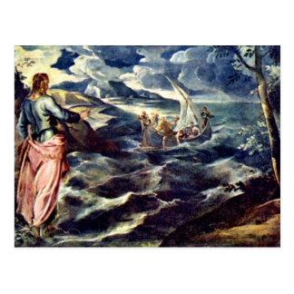 Postal Cristo en el mar de Galilea de Tintoretto Jacopo