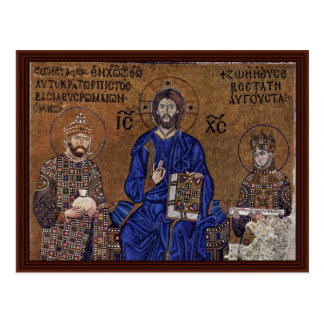 Postal Cristo Enthroned y bendición del emperador