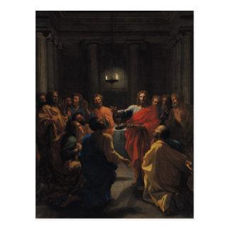 Postal Cristo que instituye la eucaristía