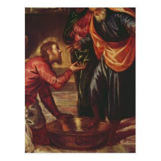 Postal Cristo que lava a los pies de los discípulos