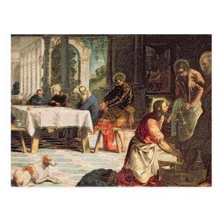 Postal Cristo que lava a los pies de los discípulos 2