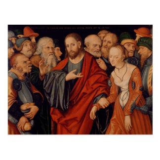 Postal Cristo y el adulterio admitido mujer