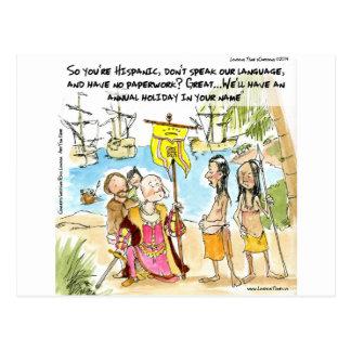 Postal Cristóbal Colón inmigra a América divertida