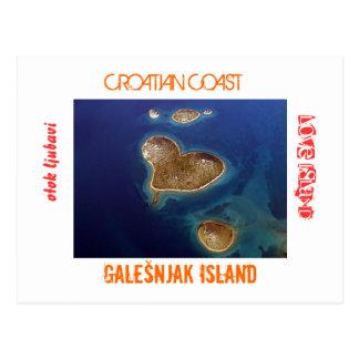 Postal Croacia - isla en forma de corazón Galešnjak