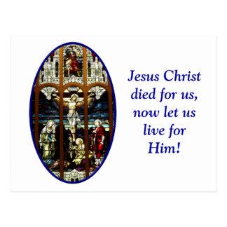 Postal Crucifixión del vitral de Jesús