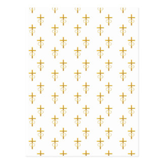 """Postal cruz de oro de la mirada """"tridimensional"""" con los"""