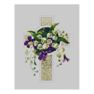 Postal Cruz de plata con las flores púrpuras