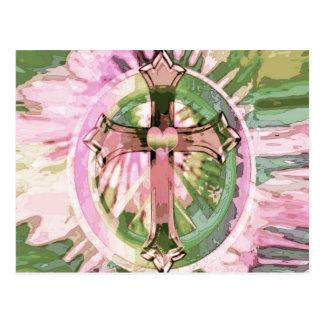 Postal Cruz del arco iris del teñido anudado con el