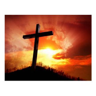 Postal Cruz religiosa de Pascua en la puesta del sol