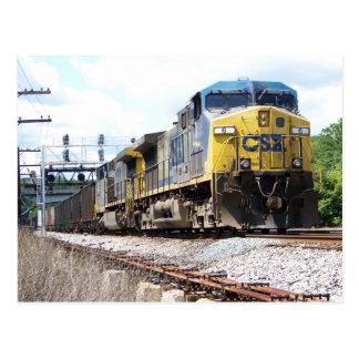 Postal CSX Railroad AC4400CW #6 con un tren del carbón