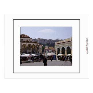 Postal Cuadrado de Monasteraki en Atenas, Grecia