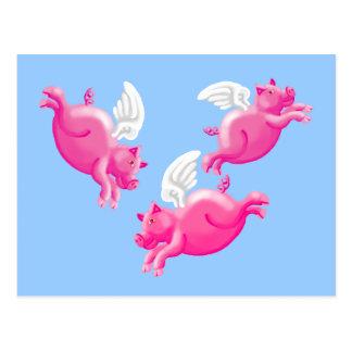 Postal cuando los cerdos vuelan