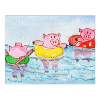 Postal Cuando los cochinillos flotan - los cerdos de la