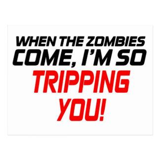 Postal Cuando vienen los zombis - divertido diseñe