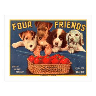 Postal Cuatro perros de la etiqueta del cajón del tomate