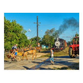 Postal Cuba: Travesía de ferrocarril ocupada