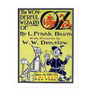Postal Cubierta de libro de mago de Oz del vintage