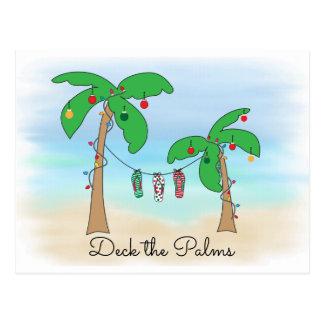 Postal Cubierta hawaiana del navidad de la playa tropical