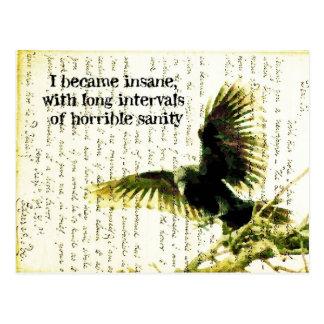 Postal Cuervo con cita y Handwritting del Poe