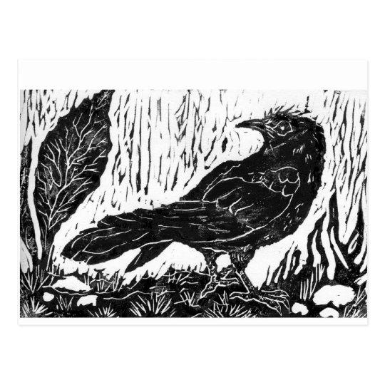Postal Cuervo del día lluvioso -- impresión de bloque