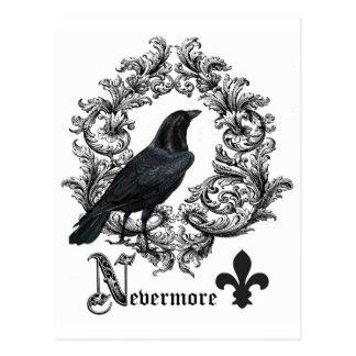Postal cuervo moderno de Halloween del negro del vintage