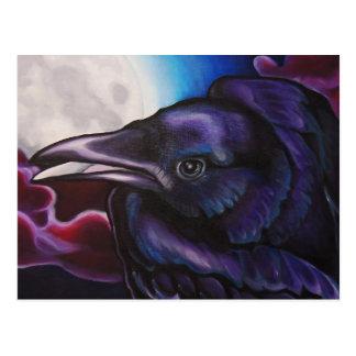Postal Cuervo y luna