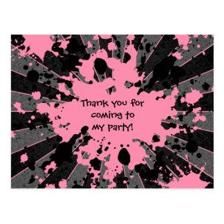 Postal Cumpleaños rosado enrrollado de Paintball de la