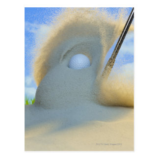 Postal cuña de arena que golpea una pelota de golf fuera